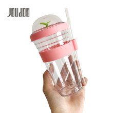JOUDOO 360ml/480ml Plastic Water Bottle Children Kids Drinking with Straw  Tour Portable Bottles 35