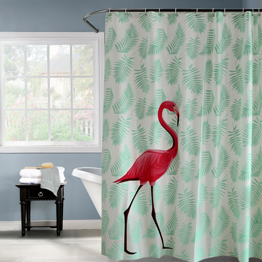 Green shower curtains - Peav Plastic Red Flamingo Green Leaves Waterproof Shower Curtain Thicken Frosted Bathroom Shower Curtains 180x180cm 180x200cm