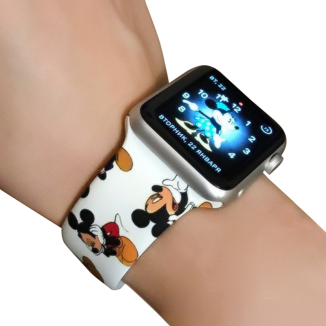 Мягкий силиконовый ремешок с рисунком Микки для Apple Watch Series 1 2 3 4 Watch Band iWatch 38 мм 42 мм 40 мм 44 мм ремешок для браслета