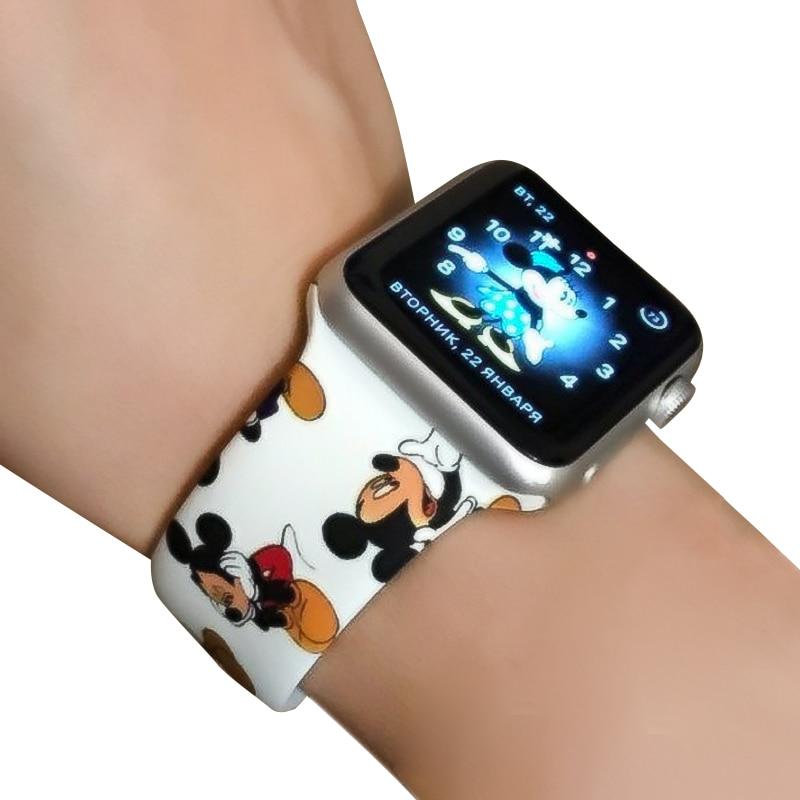 Cartoon Mickey Soft Silicone Watchband For Apple Watch Series 1 2 3 4 Watch Band IWatch 38mm 42mm 40mm 44mm Wrist Bracelet Strap