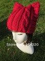 Vermelho Bonito Da Orelha de Gato Meow Kitty Inverno Mão Malha tampão do crânio Chapéu Gorro De Lã Mulher