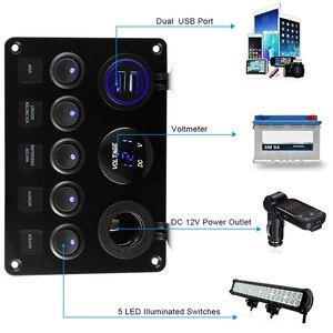 Светодиодная панель переключателя для морской лодки 12 в 24 в 6 банд Водонепроницаемая ВКЛ-ВЫКЛ панель переключения USB зарядное устройство розетка вольтметр 12 В розетка