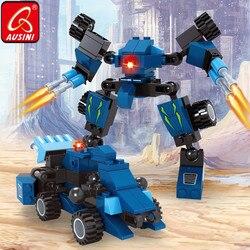 Ausini azul caminhões carro blocos de construção deformable robô brinquedos para crianças modelo tijolos conjunto diy criador designer crianças brinquedos
