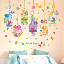 [shijuekongjian] Cartoon Birdcage Wall Stickers PVC Material DIY Birds Flower Decals for Kids Rooms Decoration