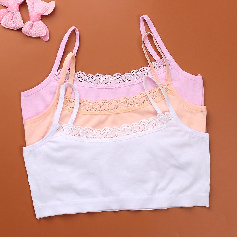 2020 1pc Teenage Underwear For Girl Children Girls Cutton Lace Wireless Young Training Bra For Kids And Teens Puberty Clothing
