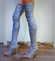 2019 серебристо серый жемчуг, кристаллы на высоком каблуке тонкой каблуке острым Высокие сапоги Для женщин обувь со стразами для певицы для с