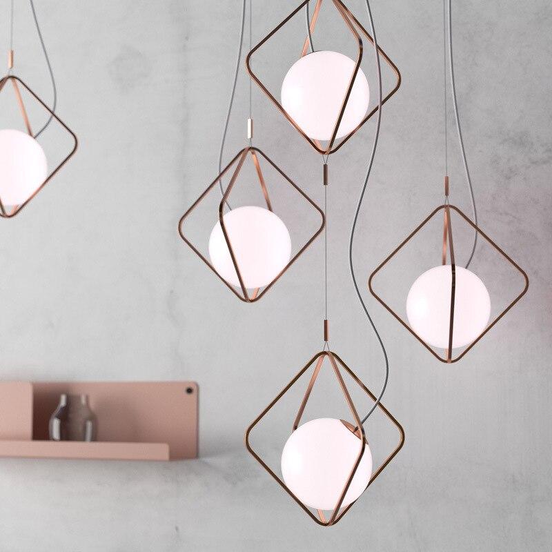 Losange salle à manger lustre Nordique loft Café vêtements magasin bar diamant cage Lustre décoratif