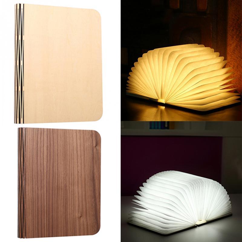 Legno di Svolta Libri Nightlight USB Ricaricabile HA CONDOTTO LA Lampada Pieghevole Libro Creativo Ffashion Regalo Lampada Da Tavolo