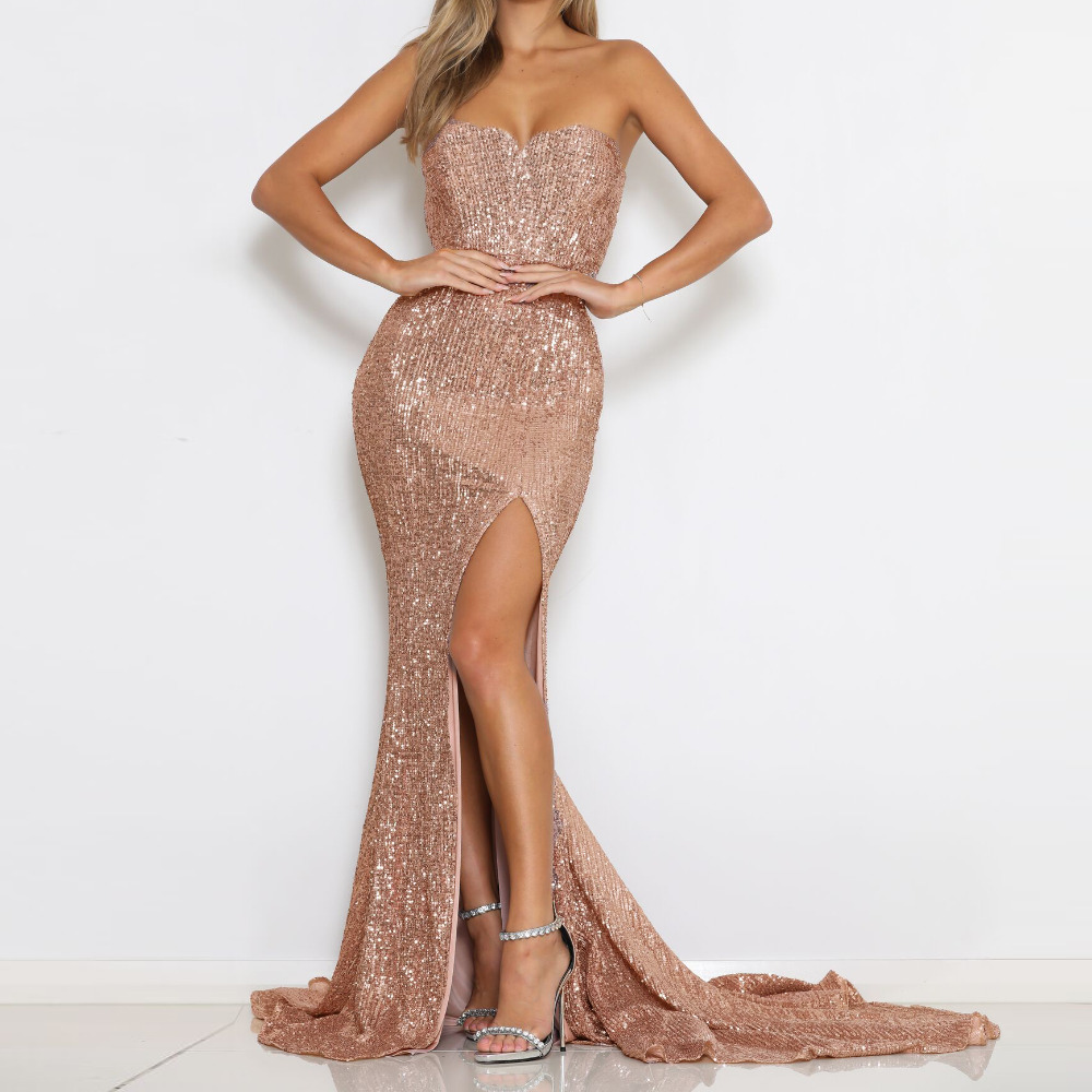 Split Front Champagne Gold Sequined Party Dress Strapless Bodycon Floor Length Maxi Dress Padded Backless Slit