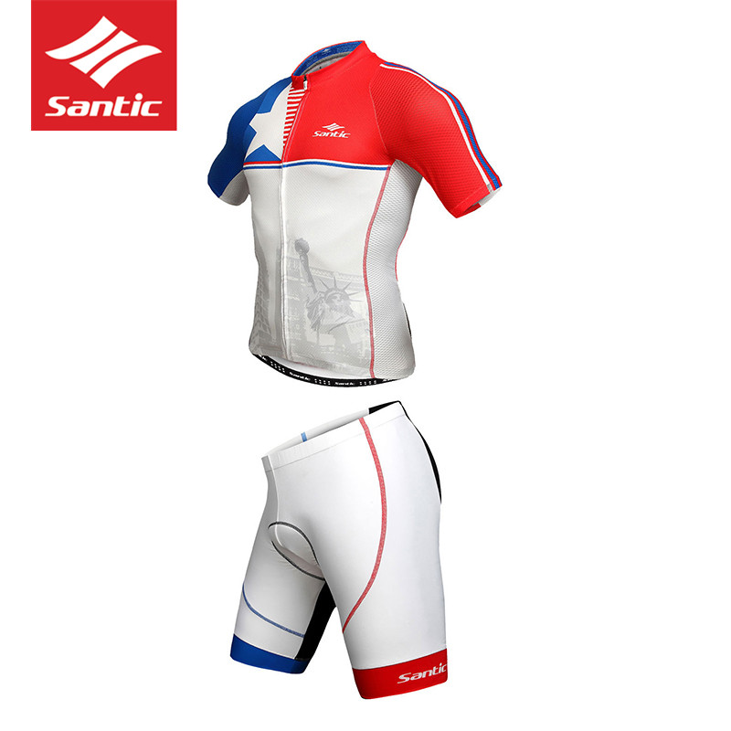 2018 SANTIC New Men Maillot Ciclismo MTB Set Shorts Cycling Jersey Clothing Sets Summer Bike Ropa Ciclismo White Red Sport Sets santic bib shorts classic race bicycle bottom ropa ciclismo bike shorts 4d pad italy silicon grip mtb roupa ropa de ciclismo