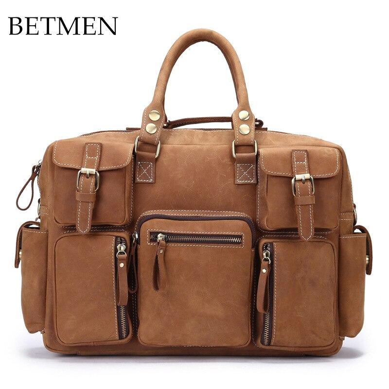 BETMEN Luxury Brand Men Handbag Genuine Leather Bag Leather Business Briefcase Men Travel Bags