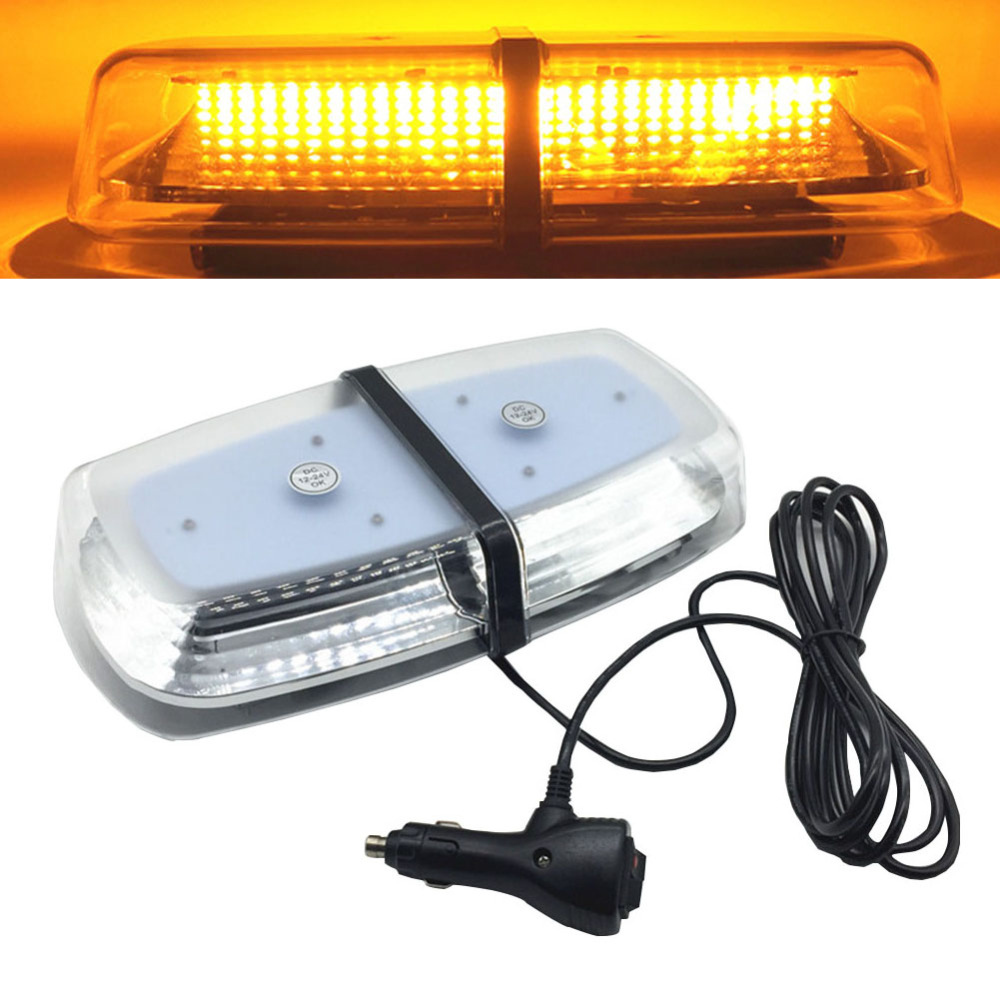 DC12V 24V 72 LED Amber Car Roof Strobe Light Emergency Beacon Flashing Warning Lamp Lighting Magnetic Mounted