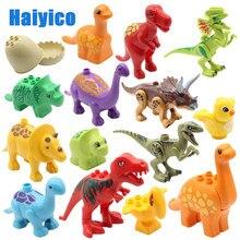 Educação montagem de blocos de construção, dinossauro jurássico, modelo, acessórios de suplemento, compatível com duplos, criança, brinquedos duráveis, presente
