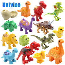 Educação montagem grandes blocos de construção jurássico dinossauro modelo suplemento acessórios tijolos compatíveis criança brinquedos duráveis presente