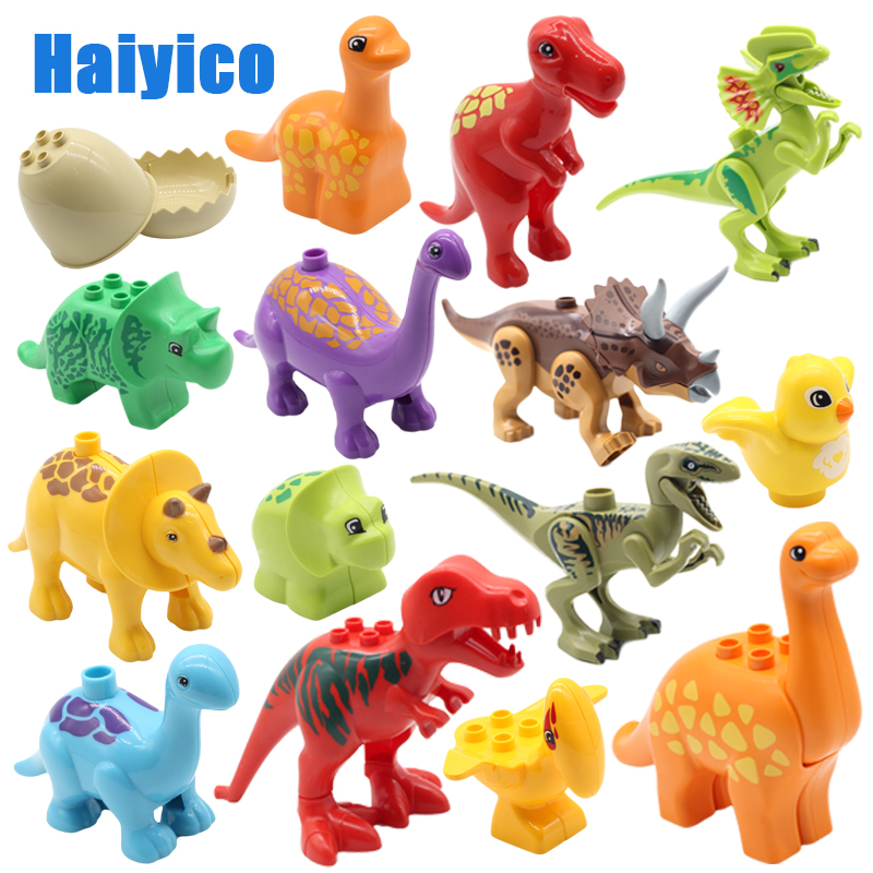 Big Particles Building Blocks Jurassic Dinosaur Accessories Compatible With Duplos Bricks Egg Baby Enlighten Durable Toys Gift