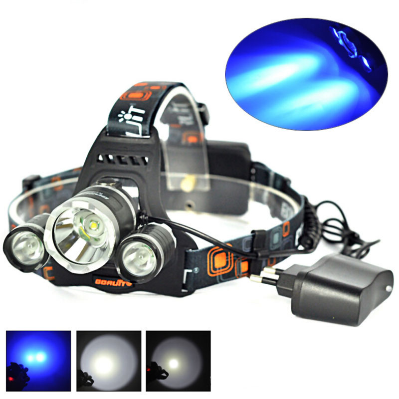 BORUIT RJ-3000 1xCREE XML T6+2xCREE R2 Blue Light 3-Mode USB Rechargeable LED Headlamp+2x18650+1xCharger+1xUSB Cable simba мини кукла маша в малиновом сарафане