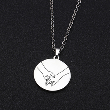 Present Tag Piece Hold Hands Gestures Loving Necklace Fashio