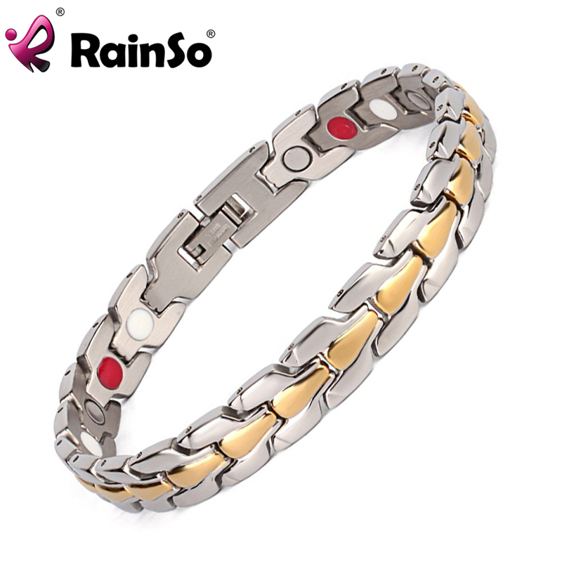 Rainso Stainless Steel Bracelet Men's Gold/Silver Plated Bracelet Magnetic Bracelet(ion and FIR) Jewelry Bracelet Bangle For Men цена