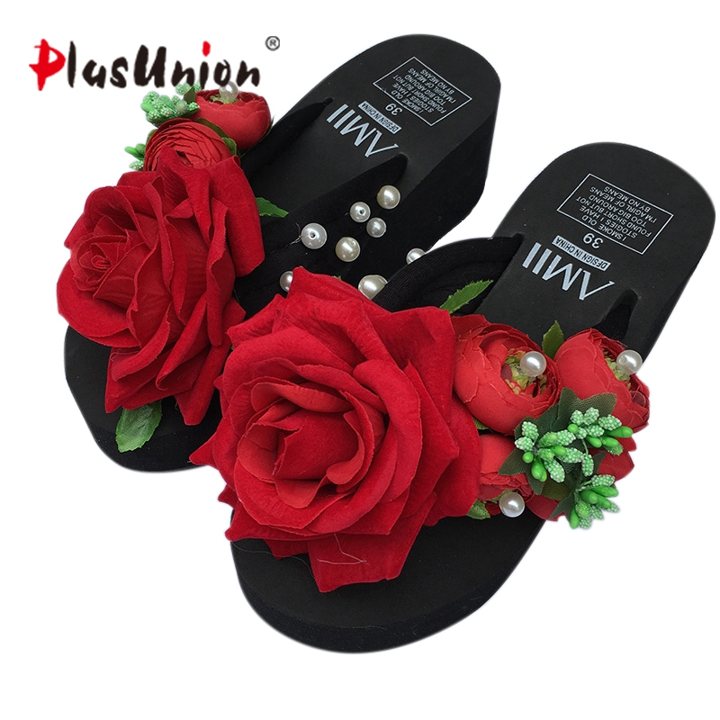 57adc0278bd plusunion red rose wedges flip flops beach platform outside shoes floral  slides outdoor slippers shoe woman