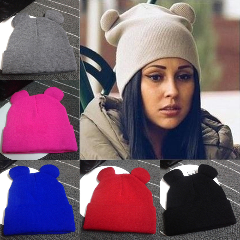 Fashion Women Winter Warm Knitted Hat Cat's Ears Women's Hat Knitted Caps Casual Female Beanies Hip-hop Skullies Solid Color Y1 new 2016 winter hat nasa men women unisex solid brand hot sale warm casual knitted hip hop caps hat female skullies beanies
