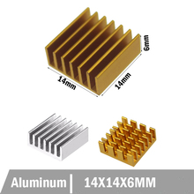 50pcs/lot Aluminum Cooling Heat sink 14 x 14 x 6MM Golden Chipset RAM Heatsink Radiator 40120026 aluminum heatsink radiator black 37 x 37 x 3mm