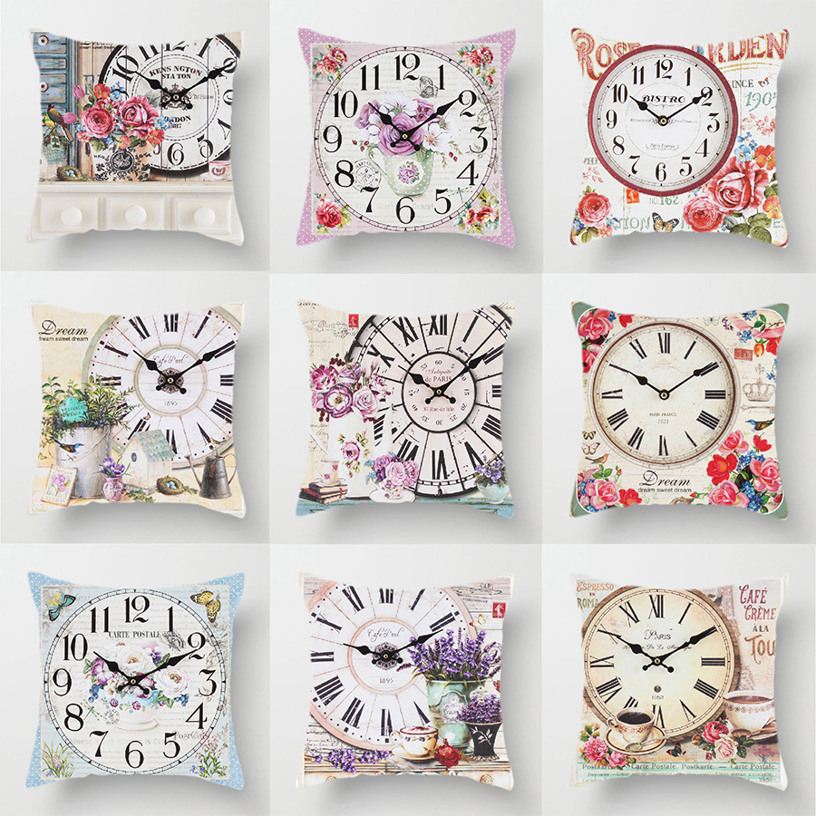 Clock Flower Throw Cushion Pillow Covers 45x45cm Decorative Kitchen Sofa Wedding Home Decoration Accessories Pink Room Decor-in Cushion Cover from Home & Garden