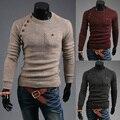 2014 new arrival pulôver camisola dos homens de letra impressa o-pescoço de manga comprida homem camisola ocasional magro dos homens camisolas tamanho
