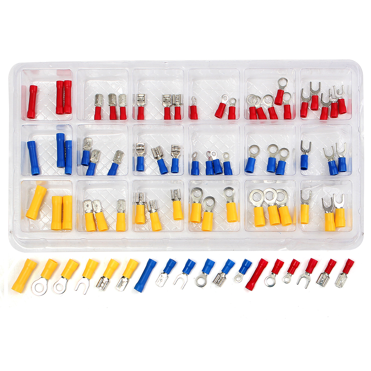 76Pcs Insulated Butt Spade Ring Fork Crimp Terminal Car Audio Wire Connector Assorted Crimp Terminals With Handy Storage Box yt 480pcs insulated crimp terminals seal butt electrical wire cable spade ring fork crimping connector set with storage box