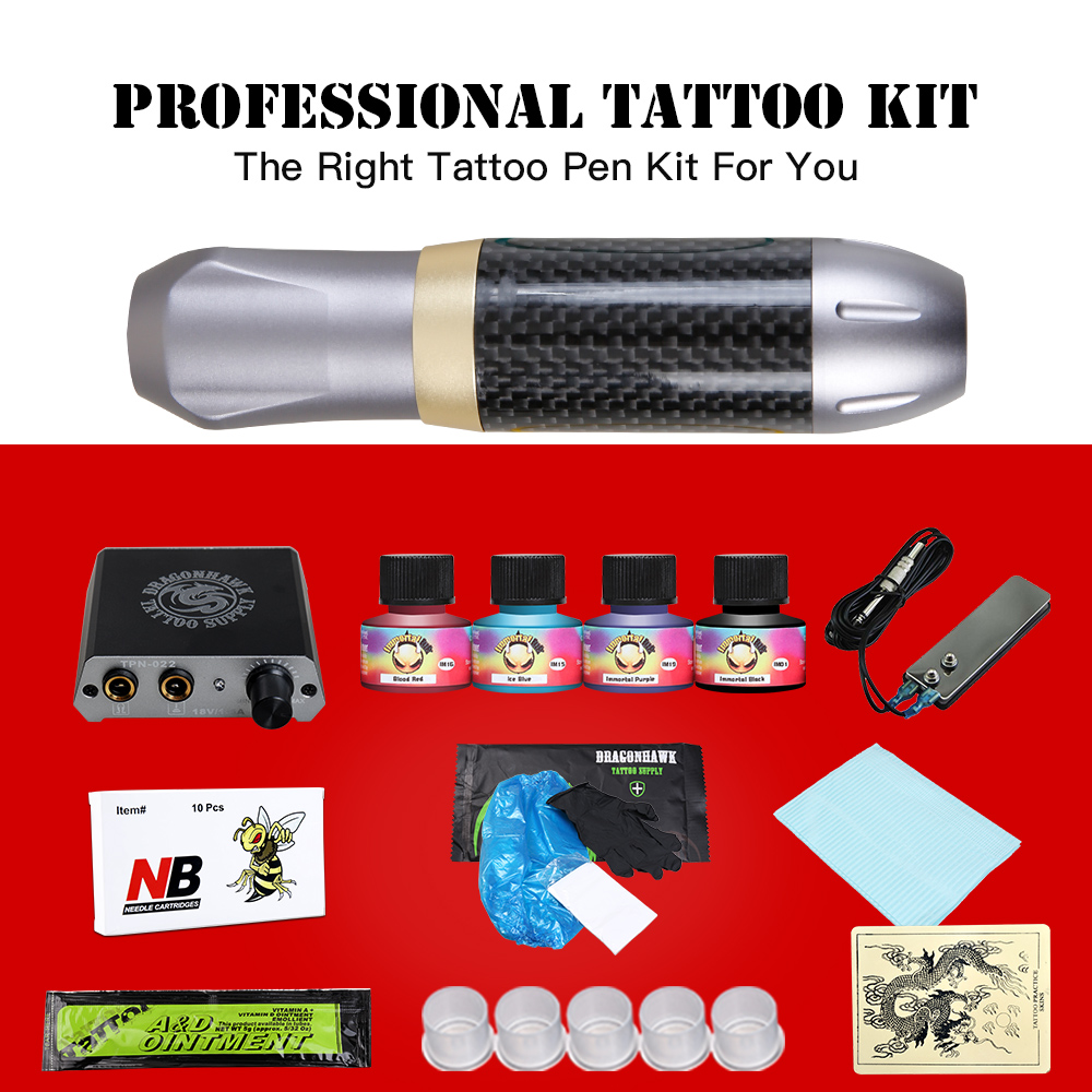 Professional Tattoo Kit Complete Rotary Tattoo Machine Set Pen Power Supply Black Pigment Needles Grip Tip Set With Carrier BoxProfessional Tattoo Kit Complete Rotary Tattoo Machine Set Pen Power Supply Black Pigment Needles Grip Tip Set With Carrier Box