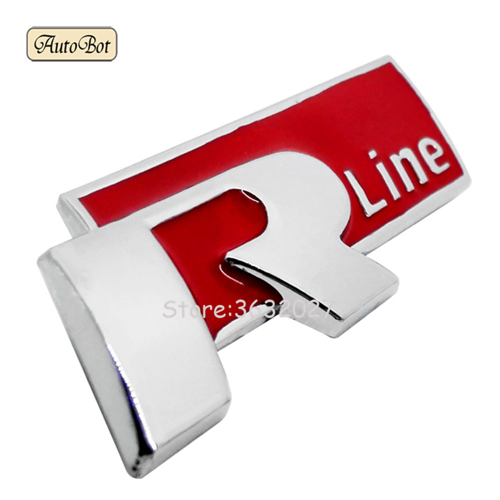 Metal 3D Car Auto Rline Sticker Emblem R Line Badge For Volkswagen Golf 4 5 6 7 MK7 MK3 MK4 Passat B5 B6 B7 Polo T5 T4 Touran atreus 30cmx127cm carbon fiber car styling stickers for vw polo passat b7 b8 golf 7 5 6 mk4 touran bora t4 skoda octavia a5 a7 2