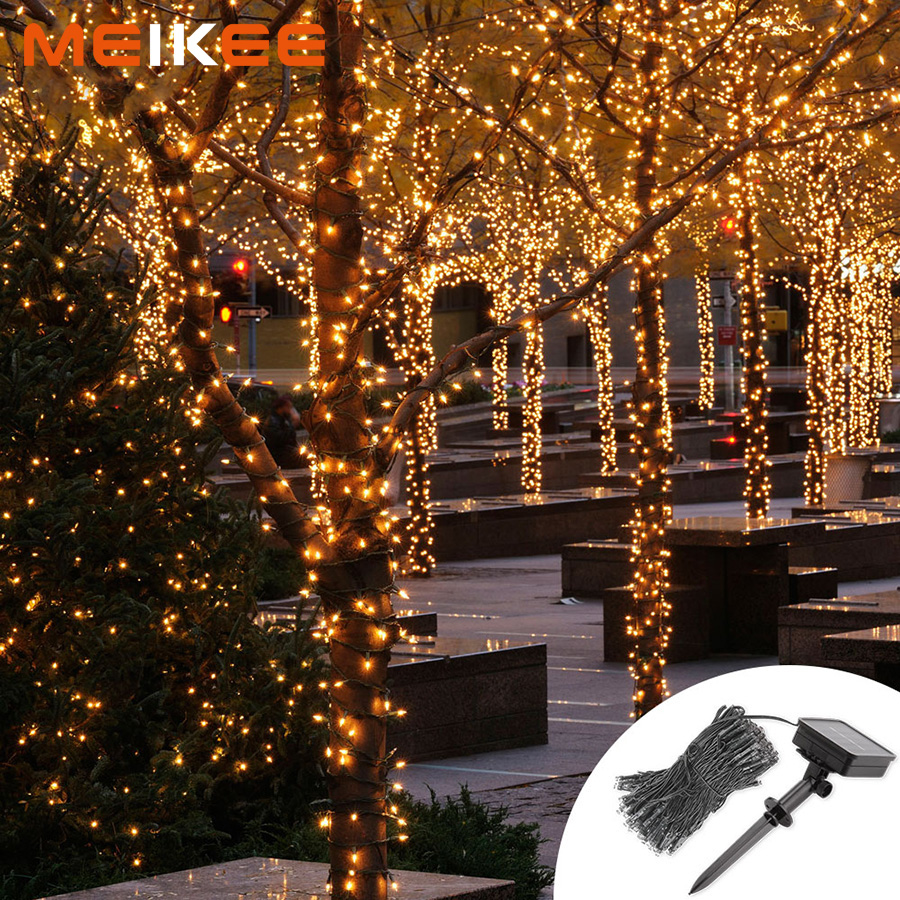 Us 9 36 55 Off 100 200 300leds Led Solar Light Lamp Waterproof Solar Powered String Christmas Decoration Lights For Outdoor Square Holiday In Solar