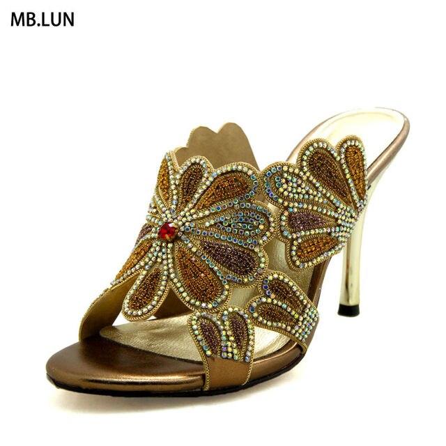 Floral High Heel Sandals Women Summer Shoes 2017 Famous Designer Rhinestone Party Wedding Design Ladies