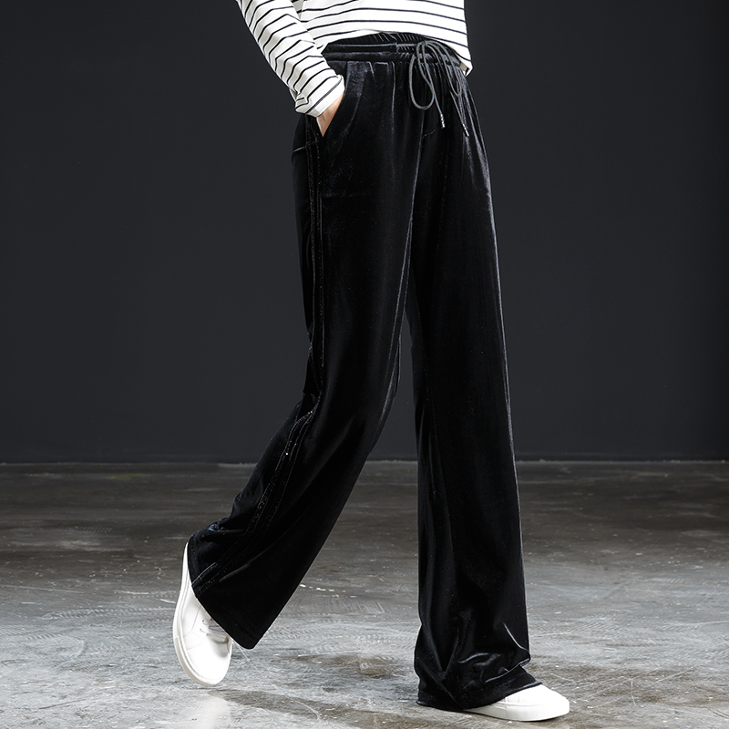 Gold Velvet Wide Leg Pants Female Long Pants Drape 2019 Spring And Autumn New High Waist Retro Micro Trousers Loose Casual Pants Clear And Distinctive Pants & Capris