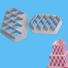 2 PCs Useful Practical Plastic Fondant Cutter Cake Mold Decorating Tools Bakeware Diamond Shape