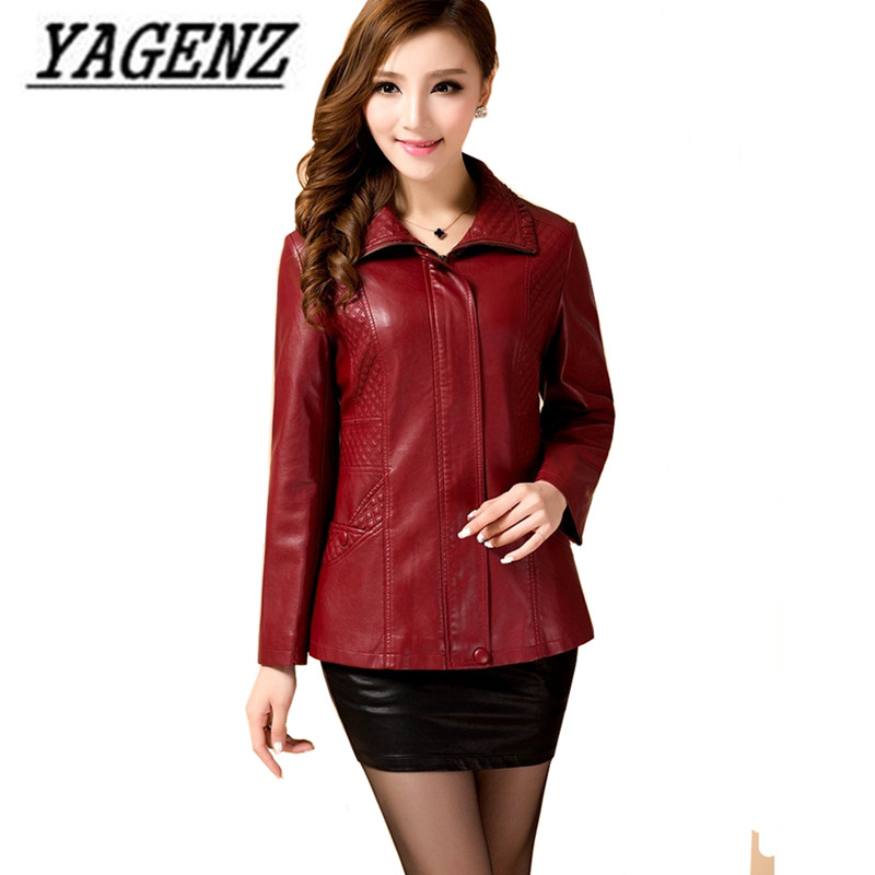 Large Size Women's Faux   Leather   Jacket Spring/Slim Long-Sleeve Short   Leather   Outerwear Casual Windproof PU   Leather   Jackets 5XL