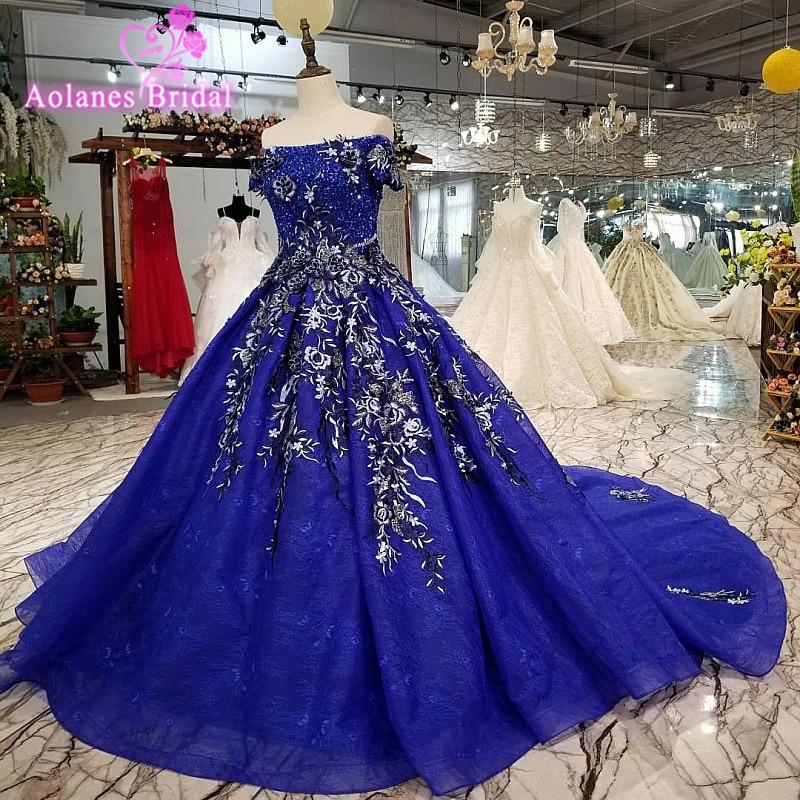 Aolanes 2018 Short Sleeves Royal BLue Lace Beaded Bridal