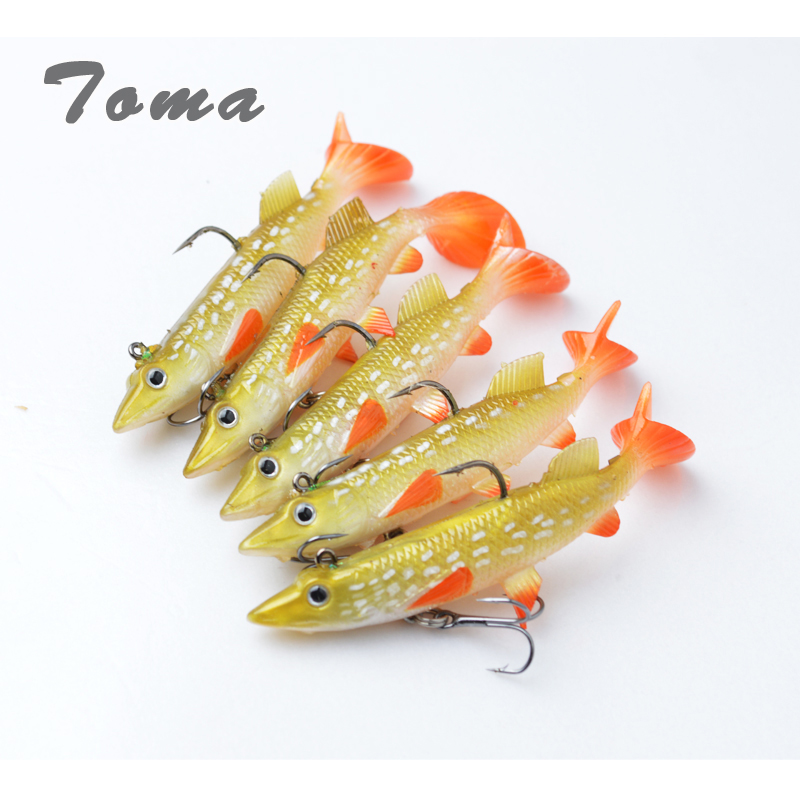 TOMA 5pcs/lot Fishing Lure Carp Lead Head Fish Lures 14g Soft Silicone Bait Pesca Topwater Soft Lure With Trble Hooks 10pcs 7 5cm soft lure silicone tiddler bait fluke fish fishing saltwater minnow spoon jigs fishing hooks