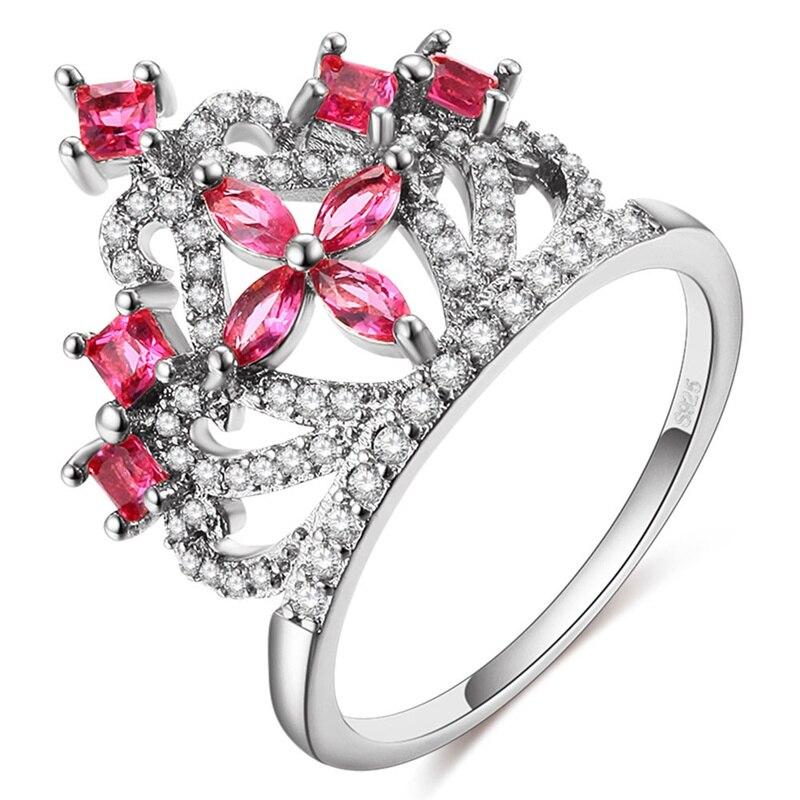 Мода Корона Кольца для Для женщин подарок на день рождения Серебряный Цвет кубического циркония Обручение Свадебные Обещание Кольца ювели...