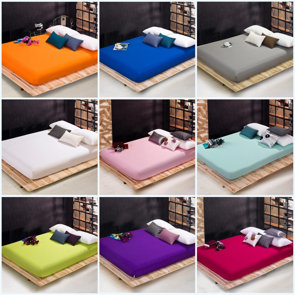 solid pure color fitted bed sheet elastic mattress cover cushion protective case bedspread polyester cotton twin full queenin sheet from home u0026 garden on