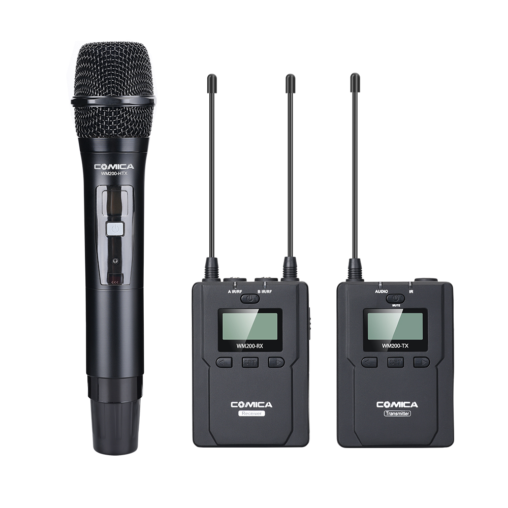 CoMica CVM-WM200B UHF Wireless Microphone Handheld Metal Mic 1 Lavalier Plus 1 Hand-held Transmitter 1 Receiver For Broadcasting