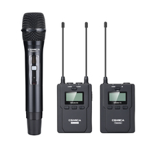 CoMica CVM-WM200B UHF Wireless Microphone Handheld Metal Mic 1 Lavalier plus Hand-held Transmitter Receiver for Broadcasting