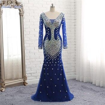 Сапфировое свадебное платье Русалка, блестящие пайетки, вечернее платье, 2019