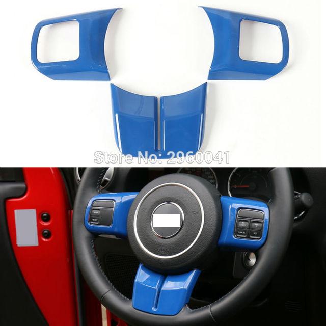 2013 Jeep Patriot Interior: 3PCS Interior Blue ABS Steering Wheel Cover Trim Sticker