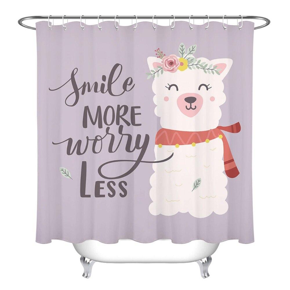 Alpaca Shower Curtain with waterproof bathroom mat 1