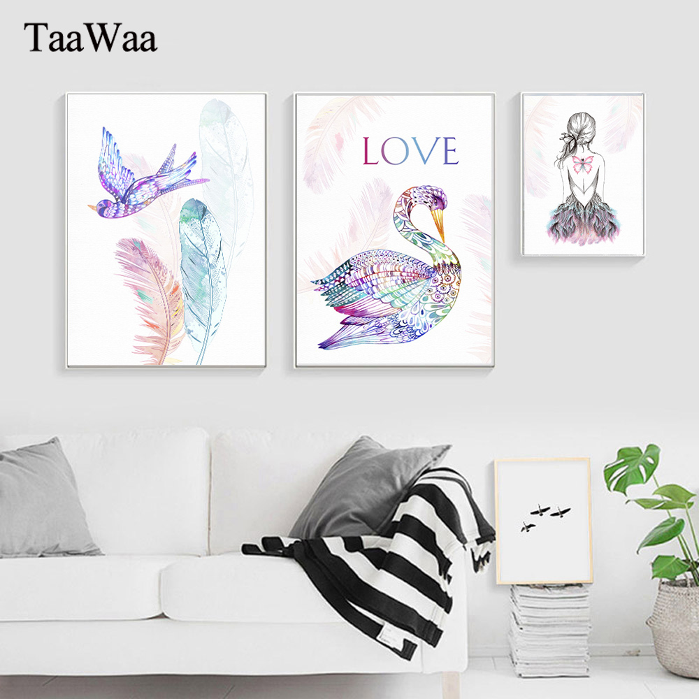 Flamingo Feather Posters Love Wall Art Canvas Prints Bird Nordic Abstract Painting Butterfly Girl Decorative Picture for Bedroom in Painting Calligraphy from Home Garden