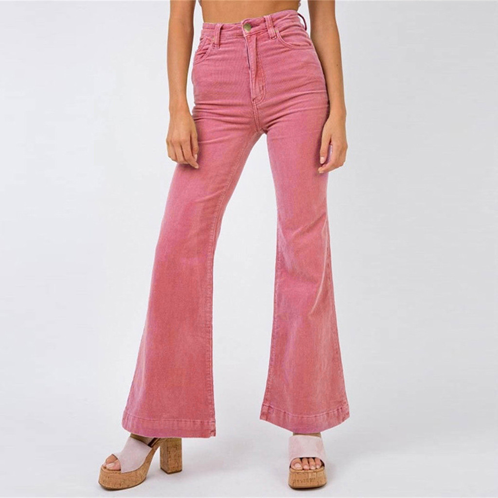 Pants woman 2020 Fashion Women Casual Solid pink Corduroy Flare  Fashion Simplicity Slim Fit Body High Waist Wide Leg Pants