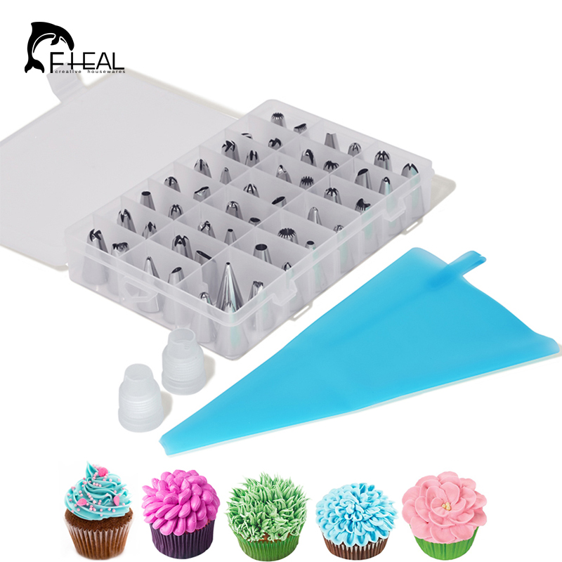 FHEAL 51pcs/set Dessert Decorators Silicone Icing Piping Cream Pastry Bag+48 Stainless Steel Nozzle Set DIY Cake Decorating Tips