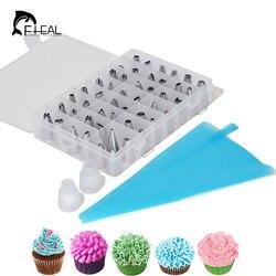 Fhear 51 pçs/pçs/set decoradores de sobremesa silicone piping creme saco pastelaria + 48 bocal de aço inoxidável conjunto diy bolo decoração dicas