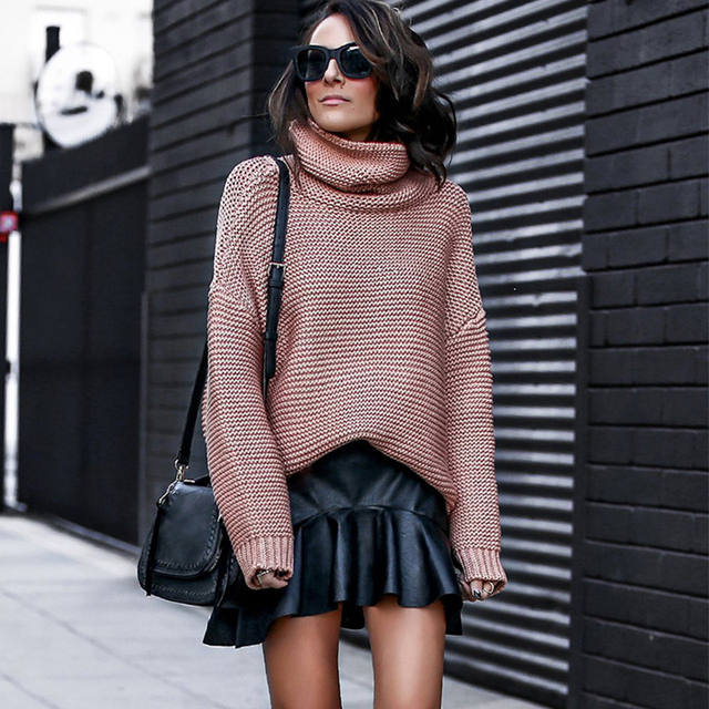 Turtleneck Knitted Oversize Pullover Sweater Women Winter 2018 High Quality Bow Neck Long Sleeve Loose Autumn Chompas Para Mujer