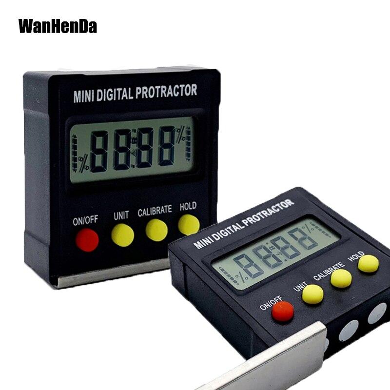 Mini inclinómetro Digital transportador de 360 grados caja de nivel electrónico Base magnética herramientas de medición regla de ángulo Regalo Idea mesilla de noche despertador Digital con termómetro higrómetro humedad temperatura reloj de mesa escritorio cargador de teléfono